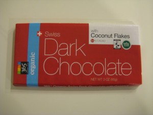 Whole Foods 365 Everyday Value Organic Swiss Dark Chocolate with Coconut Flakes